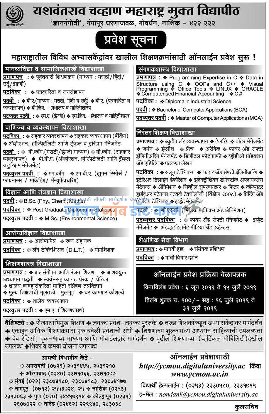 YCMOU Admission 2019-20 | YCMOU BA Bed MBA BCom BSC Admission 2019 1